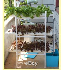 108 Sites 12 Pipes 3 Layers Hydroponic Grow Kit Garden Plant Vegetable Tool New