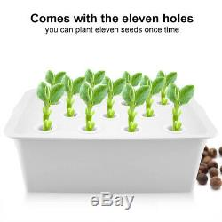 11 Holes 2.5W Hydroponic System Grow Plants Flower Water Soilless Culture Box