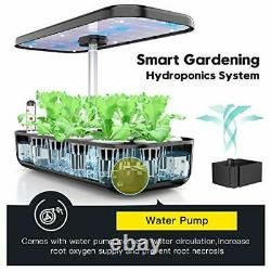 12 Pods Hydroponics Growing System, Indoor Herb Garden Kit With LED Grow Light