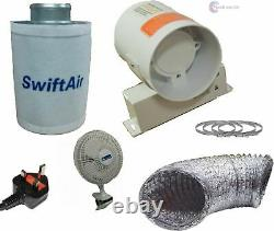 4 5 6 Carbon Filter Hydroponic Extract Fan Tent Grow Room Ventilation Kit