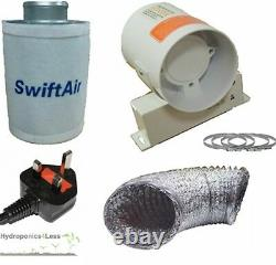 4 5 6 Carbon Filter InLine Fan Duct Kit Hydroponic Tent Room Grow Ventilation