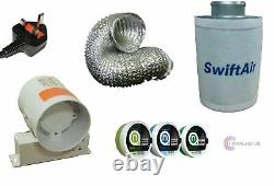 4 In Line Fan, Carbon Filter & Duct Kit Hydroponic Grow Room Tent Ventilation