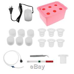 6 Holes Plant Site Hydroponic System Grow Kit Bubble Indoor Cabinet Box -Red