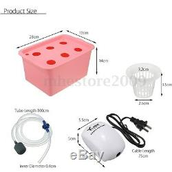 6 Holes Plant Site Hydroponic System Grow Kit Bubble Indoor Garden Cabinet