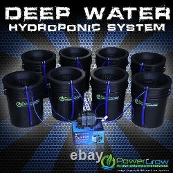 Deep Water Culture DWC Hydroponic System 8 Growing Sites 10 Lids by POWERGROW