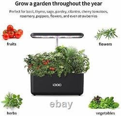 IDOO Hydroponics Growing System, Indoor Herb Garden Starter Kit with LED Grow
