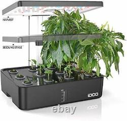 IDOO Indoor Herb Garden Kit, Hydroponics Growing System With LED Grow Light, 12