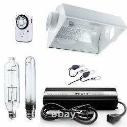 IPower 600W HPS MH Dimmable Grow Light System Kits Air Cooled Reflector Hood Set