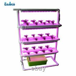 NFT Square Hydroponics System 24pcs Net Cup Home with Grow Light Plastic White