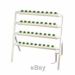 TOPQSC 4 Layers 36 Plant Sites Hydroponic Site Grow Kit 4 Pipes Vertical Pipelin