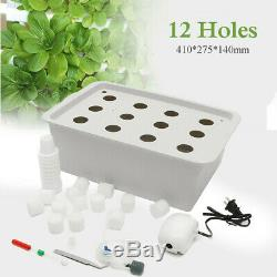 US 12 Holes Plant Site Hydroponic Grow System Bubble Tub Box Cloner Kit Garden