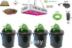 XerXes Deep Water Culture DWC Hydroponic & LED Grow System, 5 Gallon Set of 4